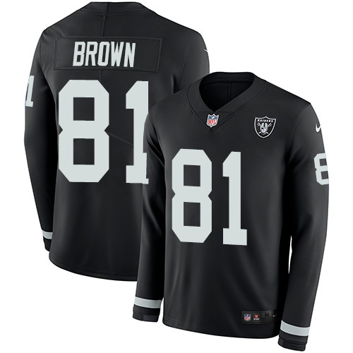 Nike Raiders #81 Tim Brown Black Team Color Men's Stitched NFL Limited Therma Long Sleeve Jersey