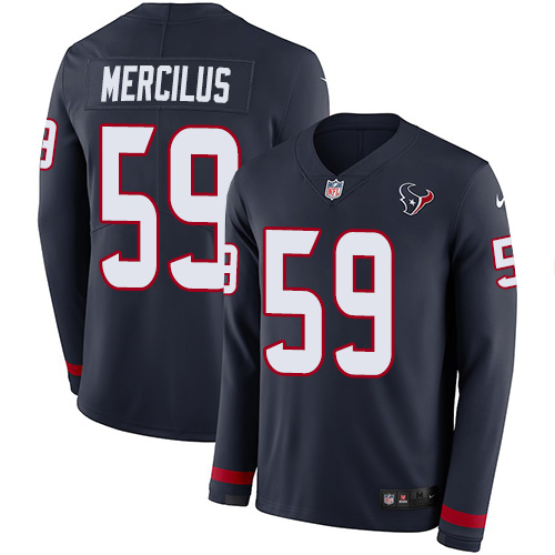 Nike Texans #59 Whitney Mercilus Navy Blue Team Color Men's Stitched NFL Limited Therma Long Sleeve Jersey