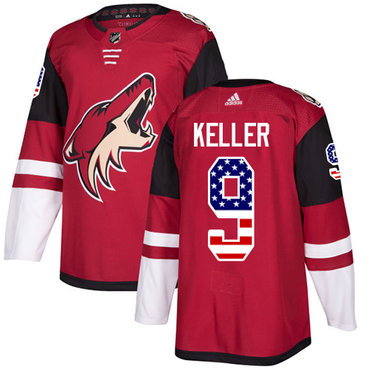 Adidas Coyotes #9 Clayton Keller Maroon Home Authentic USA Flag Stitched NHL Jersey