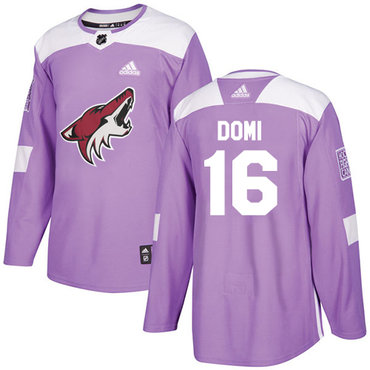 Adidas Coyotes #16 Max Domi Purple Authentic Fights Cancer Stitched NHL Jersey