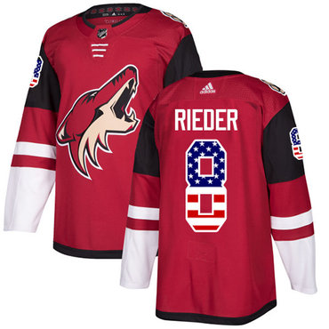 Adidas Coyotes #8 Tobias Rieder Maroon Home Authentic USA Flag Stitched NHL Jersey