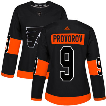 Philadelphia Flyers#9 Authentic Ivan Provorov Black Adidas NHL Alternate Women's Jersey