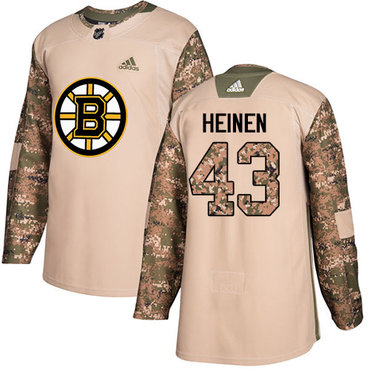 Adidas Bruins #43 Danton Heinen Camo Authentic 2017 Veterans Day Stitched NHL Jersey