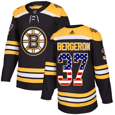 Adidas Bruins #37 Patrice Bergeron Black Home Authentic USA Flag Stitched NHL Jersey