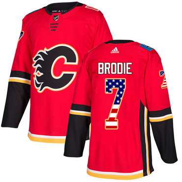 Adidas Flames #7 TJ Brodie Red Home Authentic USA Flag Stitched NHL Jersey