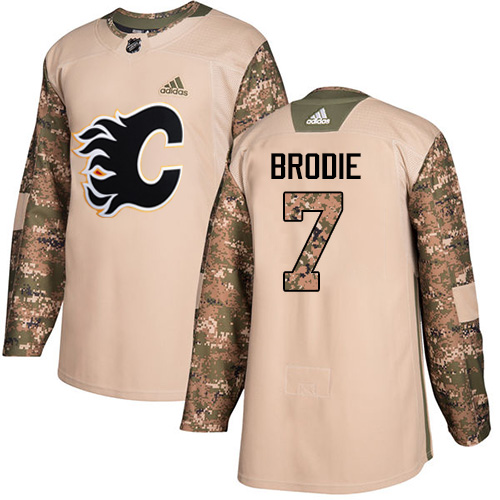 Adidas Flames #7 TJ Brodie Camo Authentic 2017 Veterans Day Stitched NHL Jersey