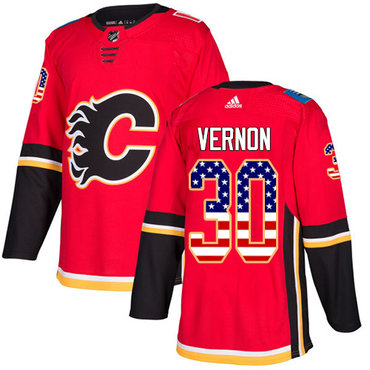 Adidas Flames #30 Mike Vernon Red Home Authentic USA Flag Stitched NHL Jersey