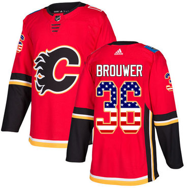 Adidas Flames #36 Troy Brouwer Red Home Authentic USA Flag Stitched NHL Jersey