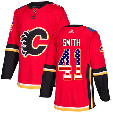 Adidas Flames #41 Mike Smith Red Home Authentic USA Flag Stitched NHL Jersey