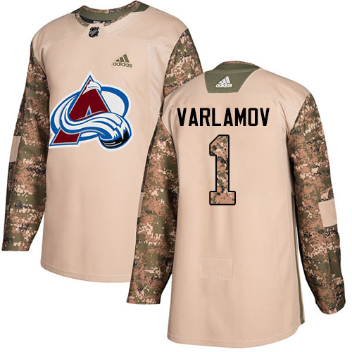 Adidas Avalanche #1 Semyon Varlamov Camo Authentic 2017 Veterans Day Stitched NHL Jersey