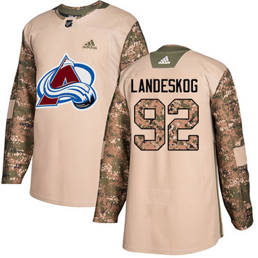 Adidas Avalanche #92 Gabriel Landeskog Camo Authentic 2017 Veterans Day Stitched NHL Jersey