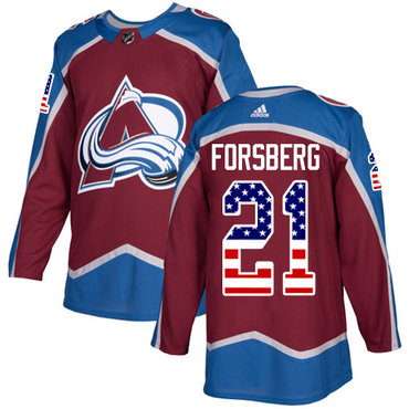 Adidas Avalanche #21 Peter Forsberg Burgundy Home Authentic USA Flag Stitched NHL Jersey