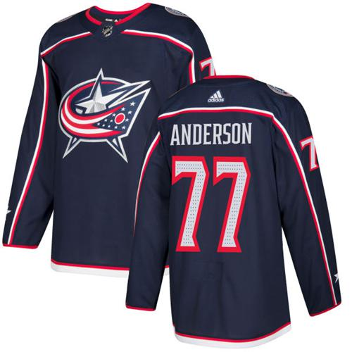 Adidas Blue Jackets #77 Josh Anderson Navy Blue Home Authentic Stitched NHL Jersey