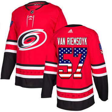 Adidas Hurricanes #57 Trevor Van Riemsdyk Red Home Authentic USA Flag Stitched NHL Jersey