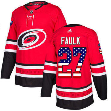 Adidas Hurricanes #27 Justin Faulk Red Home Authentic USA Flag Stitched NHL Jersey