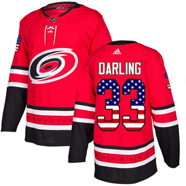 Adidas Hurricanes #33 Scott Darling Red Home Authentic USA Flag Stitched NHL Jersey