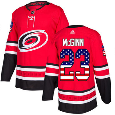 Adidas Hurricanes #23 Brock McGinn Red Home Authentic USA Flag Stitched NHL Jersey