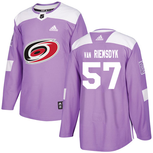 Adidas Hurricanes #57 Trevor Van Riemsdyk Purple Authentic Fights Cancer Stitched NHL Jersey