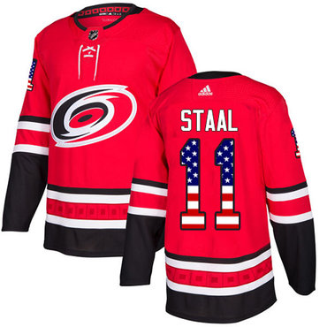 Adidas Hurricanes #11 Jordan Staal Red Home Authentic USA Flag Stitched NHL Jersey