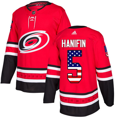 Adidas Hurricanes #5 Noah Hanifin Red Home Authentic USA Flag Stitched NHL Jersey