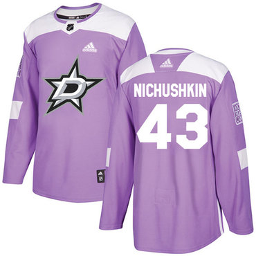 Adidas Stars #43 Valeri Nichushkin Purple Authentic Fights Cancer Stitched NHL Jersey
