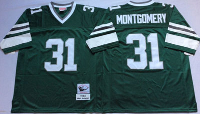 Eagles 31 Wilbert Montgomery Green Throwback Jersey