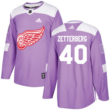 Adidas Red Wings #40 Henrik Zetterberg Purple Authentic Fights Cancer Stitched NHL Jersey