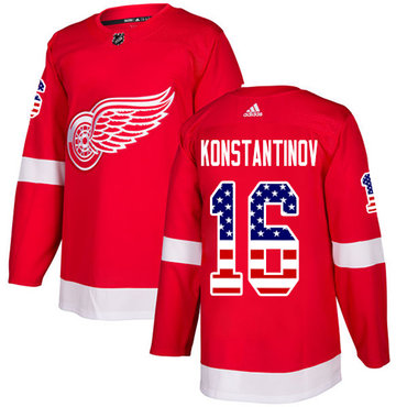Adidas Red Wings #16 Vladimir Konstantinov Red Home Authentic USA Flag Stitched NHL Jersey