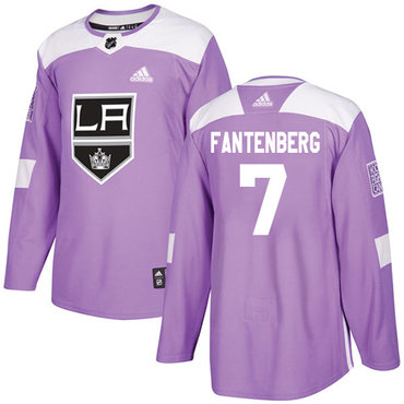 Adidas Kings #7 Oscar Fantenberg Purple Authentic Fights Cancer Stitched NHL Jersey