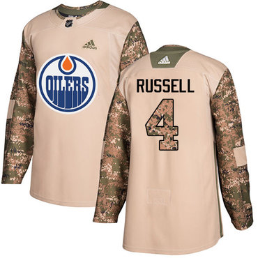 Adidas Edmonton Oilers #4 Kris Russell Camo Authentic 2017 Veterans Day Stitched NHL Jersey
