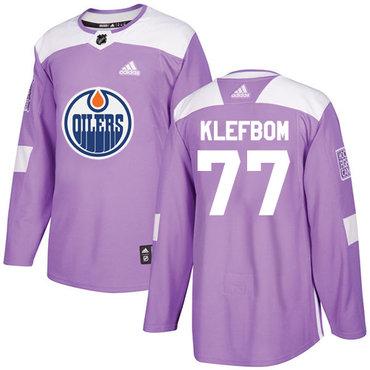Adidas Edmonton Oilers #77 Oscar Klefbom Purple Authentic Fights Cancer Stitched NHL Jersey
