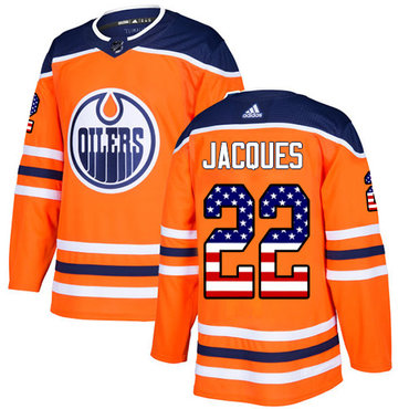 Adidas Oilers #22 Jean-Francois Jacques Orange Home Authentic USA Flag Stitched NHL Jersey