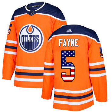 Adidas Oilers #5 Mark Fayne Orange Home Authentic USA Flag Stitched NHL Jersey