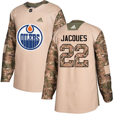 Adidas Oilers #22 Jean-Francois Jacques Camo Authentic 2017 Veterans Day Stitched NHL Jersey