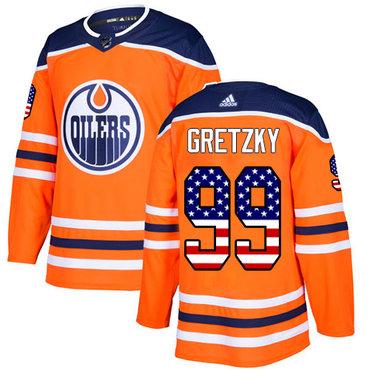 Adidas Edmonton Oilers #99 Wayne Gretzky Orange Home Authentic USA Flag Stitched NHL Jersey
