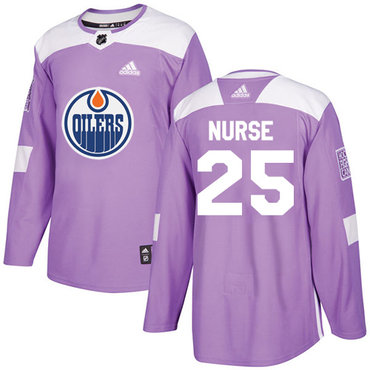 Adidas Edmonton Oilers #25 Darnell Nurse Purple Authentic Fights Cancer Stitched NHL Jersey