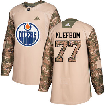 Adidas Oilers #77 Oscar Klefbom Camo Authentic 2017 Veterans Day Stitched NHL Jersey