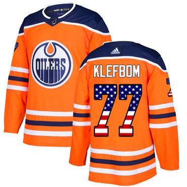 Adidas Edmonton Oilers #77 Oscar Klefbom Orange Home Authentic USA Flag Stitched NHL Jersey