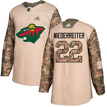Adidas Wild #22 Nino Niederreiter Camo Authentic 2017 Veterans Day Stitched NHL Jersey