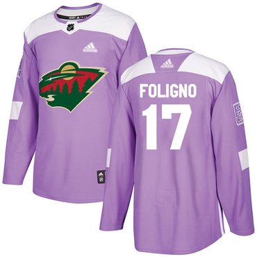 Adidas Wild #17 Marcus Foligno Purple Authentic Fights Cancer Stitched NHL Jersey