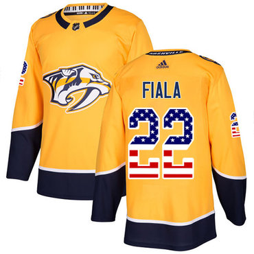 Adidas Predators #22 Kevin Fiala Yellow Home Authentic USA Flag Stitched NHL Jersey