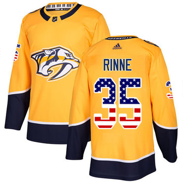 Adidas Predators #35 Pekka Rinne Yellow Home Authentic USA Flag Stitched NHL Jersey