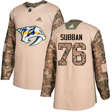 Adidas Predators #76 P.K Subban Camo Authentic 2017 Veterans Day Stitched NHL Jersey