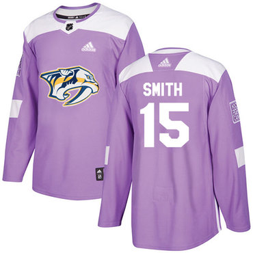 Adidas Predators #15 Craig Smith Purple Authentic Fights Cancer Stitched NHL Jersey