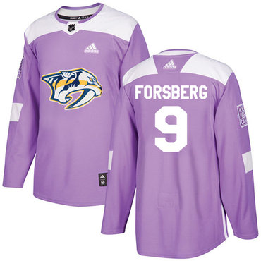 Adidas Predators #9 Filip Forsberg Purple Authentic Fights Cancer Stitched NHL Jersey