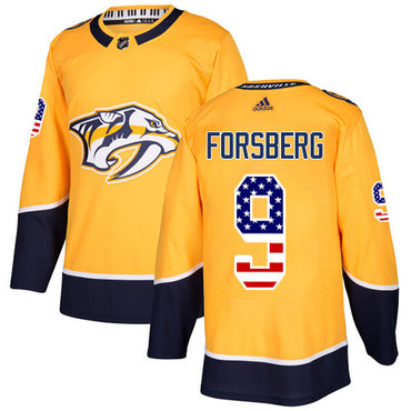 Adidas Predators #9 Filip Forsberg Yellow Home Authentic USA Flag Stitched NHL Jersey