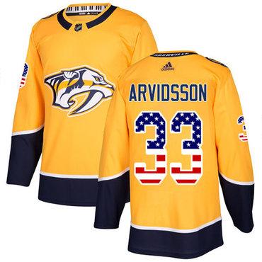 Adidas Predators #33 Viktor Arvidsson Yellow Home Authentic USA Flag Stitched NHL Jersey