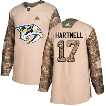 Adidas Predators #17 Scott Hartnell Camo Authentic 2017 Veterans Day Stitched NHL Jersey