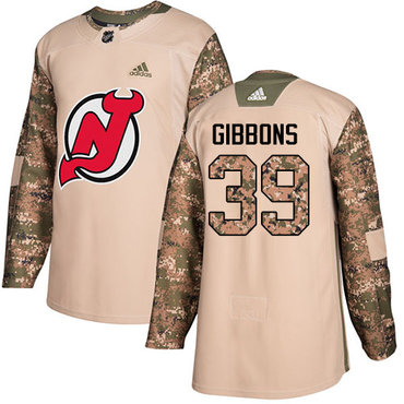 Adidas Devils #39 Brian Gibbons Camo Authentic 2017 Veterans Day Stitched NHL Jersey