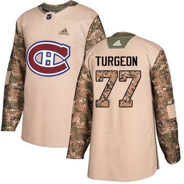 Adidas Canadiens #77 Pierre Turgeon Camo Authentic 2017 Veterans Day Stitched NHL Jersey